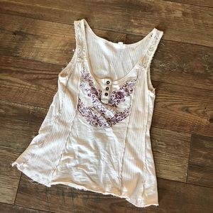 Anthro MOTH Cream Lace Crop Tank Top S